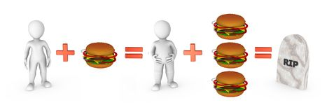 3d small people with hamburgers and fast food problem. 3d rendered illustration stock illustration
