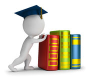3D Small People - Heavy Education. 3d small person pushes heavy books. 3d image. White background stock illustration