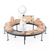 3d Small People hold a Cardboard Box near Parcel Goods over Roll Royalty Free Stock Photo
