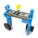 3d small people, idea symbol and dollar pack Stock Images