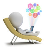 3d small people - Internet Services. 3d small person lies with a laptop on a chaise lounge. Internet services. 3d image. White background Royalty Free Stock Photography