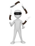3D small people - juggling with knives. Royalty Free Stock Photo