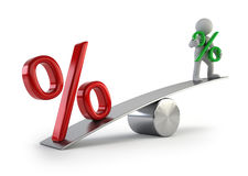 3d small people - low interest rates vector illustration