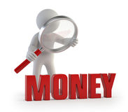 3d small people - lupe money Stock Photo