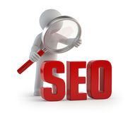 3d small people - lupe SEO Stock Image