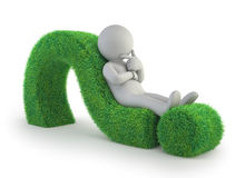 3d small people - lying on a green question mark. Lying on a green question mark,  white background Stock Photo
