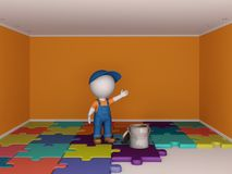 3d small people making deal. Colorful empty room and the man in workwear. Renovation concept Stock Images