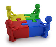3d small people - Males with four puzzle together Stock Photos