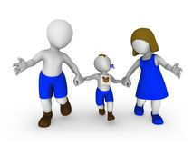 3d small people: mother, father and son. royalty free illustration