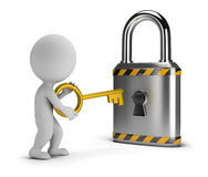 3d small people - opens the lock. 3d small person with a key lock. 3d image. White background Stock Photo