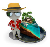 3d small people - piece of paradise. 3d small person - tourist near a slice of cake in the form of paradise. 3d image. White background Royalty Free Stock Photos