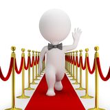 3d small people - red carpet. 3d small person with a bow tie is walking along the red carpet and waving his hand. 3d image. White background royalty free illustration