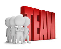 3d small people - reliable team. Group of 3d small people standing next to the word team. 3d image. White background Stock Photos