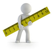 3d small people - ruler Stock Photography