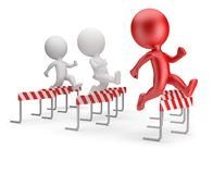 3d small people - running with obstacles stock images