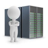 3d small people - servers. 3d small person standing on a background server. 3d image. White background Stock Photo