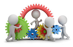 3d small people - team mechanism. 3d small people - team twisting multicolored gears. 3d image. White background royalty free illustration