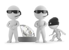 3d small people - thief wants to steal a diamond. Two guards. 3d image. White background royalty free illustration