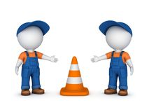 3d small people and traffic cone Stock Photos