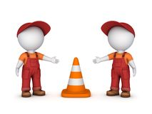 3d small people and traffic cone Stock Image