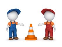 3d small people and traffic cone Royalty Free Stock Images