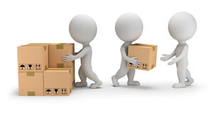 3d small people - unloading cargo. 3d small people unload boxes. 3d image. White background stock illustration