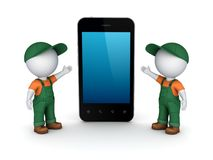 3d small people in workwear and cellphone. Stock Image