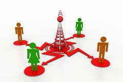 3d small person around Stylized antennas Royalty Free Stock Photo