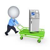 3d small person with ATM on pushcart. Royalty Free Stock Image