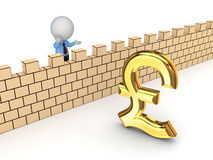 3d person and sign of pound sterling. Royalty Free Stock Photo