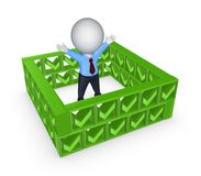 3d small person behind the wall of tick marks. Stock Images