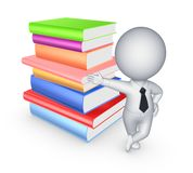 3d small person and big stack of colorful books. Royalty Free Stock Images
