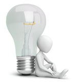 3d small person and the bulb. Stock Photo