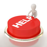 Help button!. 3d small person and button help.3d image. On a white background Royalty Free Stock Image