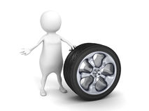 3d small person with car tire wheel. 3d render illustration Stock Photography