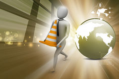 3d small person carrying the traffic cone Stock Photo