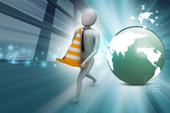 3d small person carrying the traffic cone Royalty Free Stock Photography
