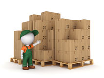 3d small person and carton boxes. stock illustration