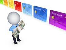 3d small person and colorful credit cards. Stock Photography