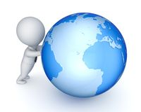3d small person and globe. Stock Image
