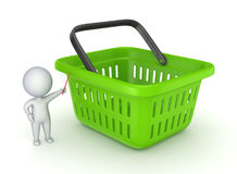 3d small person and green basket Royalty Free Stock Images