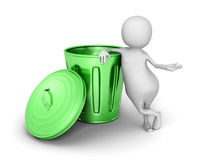 3d small person with green trash can Royalty Free Stock Photos