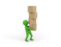 3d small person holding some heavy stack of cardboard boxes Royalty Free Stock Images