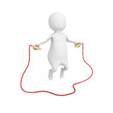 3d small person jumping through a skipping rope Stock Photo