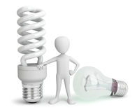 3d small person - normal and saver Lightbulb. Royalty Free Stock Image