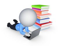 3d small person with notebook and colorful books. Royalty Free Stock Photography