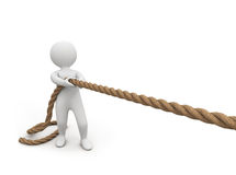 3d small person pulls a rope Royalty Free Stock Photography