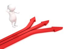 3d small person red arrows different ways hard choice concept. 3d Royalty Free Stock Image