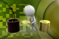 3d small person with a shield and gold coin illustration Royalty Free Stock Photos