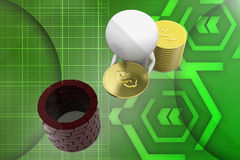 3d small person with a shield and gold coin illustration Royalty Free Stock Images